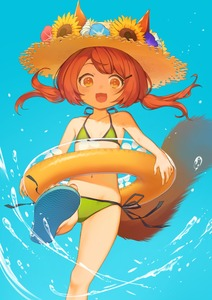 Rating: Safe Score: 2 Tags: 1girl :d animal_ears ass_visible_through_thighs bangs bare_shoulders bikini blue_background blush brown_hair collarbone ears_through_headwear flat_chest flower fox_ears fox_tail hair_ornament hairclip halter_top halterneck hat hat_flower highres innertube kicking long_hair looking_at_viewer navel open_mouth orange_eyes original sandals seashell shell side-tie_bikini simple_background smile solo straw_hat sunflower swimsuit tail taranbo twin_tails water User: DMSchmidt