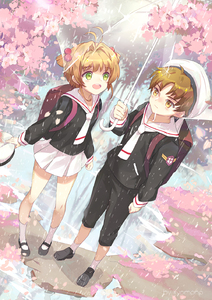 Rating: Safe Score: 0 Tags: 1boy 1girl :d antenna_hair backpack bag black_footwear black_pants black_shirt brown_eyes brown_hair cardcaptor_sakura cherry_blossoms dutch_angle eyebrows_visible_through_hair flower from_above full_body green_eyes hair_bobbles hair_ornament highres holding holding_umbrella kinomoto_sakura kyomono_(hjxop) li_xiaolang loafers mary_janes miniskirt neckerchief open_mouth outdoors pants pink_flower pleated_skirt rain red_neckwear school_uniform shirt shoes short_hair_with_long_locks sidelocks skirt smile socks standing transparent_umbrella umbrella uniform white_legwear white_skirt User: DMSchmidt