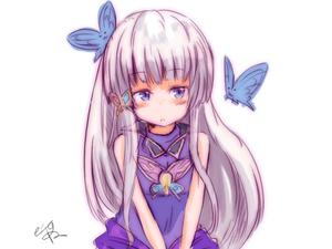 Rating: Safe Score: 0 Tags: 1girl bare_shoulders butterfly hair_ornament koko_(hm142533) long_hair odette_(sennen_sensou_aigis) pouty_lips purple_eyes sennen_sensou_aigis white_hair User: DMSchmidt