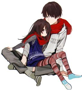 Rating: Safe Score: 2 Tags: 1boy 1girl 26 age_difference honryou_wa_naru indian_style leggings long_hair on_lap original scarf simple_background sitting skirt striped striped_legwear white_background User: Domestic_Importer