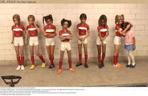 Rating: Questionable Score: 10 Tags: 3dcg bdsm bondage bound cleats english flat_chest football football_uniform hands_on_another's_head krogue laura-krogue looking_at_viewer multiple_girls photorealistic socks standing the_kicks twin_tails User: fantasy-lover