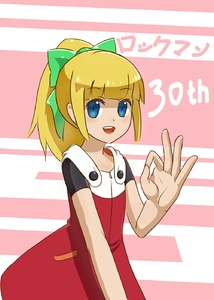 Rating: Safe Score: 0 Tags: 1girl 2578221183 anniversary bangs blonde_hair blue_eyes blunt_bangs blush bow capcom copyright_name dress eyebrows_visible_through_hair fringe green_bow hair_bow hair_ornament hand_gesture highres long_hair looking_at_viewer looking_to_the_side open_mouth rockman rockman_11 roll sidelocks simple_background smile solo teeth text User: DMSchmidt