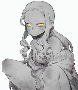 Rating: Safe Score: 1 Tags: 1girl bare_shoulders breasts chromatic_aberration closed_mouth collarbone eyelashes facing_away fate/grand_order fate_(series) forehead frown glowing glowing_eyes highres humanization ibaraki_douji_(fate/grand_order) long_hair looking_away looking_to_the_side no_eyebrows norasame_(dagako) off_shoulder sidelocks signature simple_background slit_pupils small_breasts solo spot_colour squatting tsurime wavy_hair white_background yellow_eyes User: DMSchmidt
