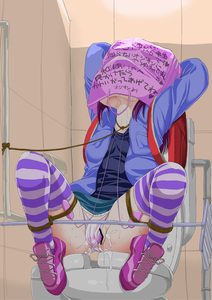 Rating: Explicit Score: 3 Tags: 1girl backpack bag bag_on_head bdsm bondage bound highres leash original pantsu purple_hair pussy_juice randoseru restrained rope sas sex_toy solo spread_legs spreader_bar thighhighs tied_up toilet trembling underwear vibrator User: DMSchmidt