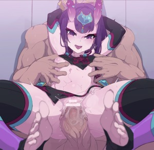 Rating: Explicit Score: 11 Tags: 1boy 1girl anus ass bangs bar_censor bare_shoulders black_legwear blush breasts carrying censored detached_sleeves dudou eyeliner fate/grand_order fate_(series) feet forehead_jewel fundoshi headpiece heart hetero horns japanese_clothes kakure_eria lifting_person looking_at_viewer makeup navel nipples oni oni_horns penis purple_eyes purple_hair pussy sex short_hair shuten_douji_(fate/grand_order) shuten_douji_(halloween)_(fate) small_breasts smile solo_focus spread_legs sweat thighs vaginal waist User: DMSchmidt