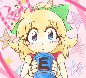 Rating: Safe Score: 0 Tags: 1girl android bangs blonde_hair blue_eyes blush bow capcom character_name e-tank hair_bow hair_ornament heart high_ponytail highres holding long_hair looking_at_viewer ponytail rockman rockman_(classic) roll solo star text User: Domestic_Importer