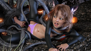Rating: Explicit Score: 16 Tags: 1girl 3dcg animal_ears brown_hair catsuit clitoris dwemra flat_chest missing_tooth navel nipples open_mouth outdoors panties_aside pantsu photorealistic pumpkin pussy shadow tentacles underwear User: fantasy-lover