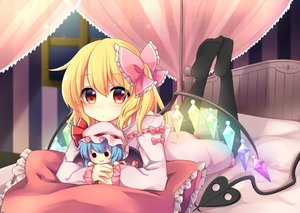 Rating: Safe Score: 0 Tags: 1girl absurdres bangs bed bed_frame black_legwear blonde_hair blurry bow canopy_bed character_doll closed_mouth crystal depth_of_field eyebrows_visible_through_hair flandre_scarlet frilled_pillow frilled_ribbon frilled_sleeves frills full_body glowing glowing_wings gradient_eyes hair_between_eyes hair_ribbon highres holding horizontal_stripes indoors laevatein legs_up light_particles long_sleeves looking_at_viewer lying medium_hair multicolored_eyes multicoloured night night_sky no_hat no_headwear on_stomach pajamas pillow pink_bow pink_pajamas pink_pillow pink_ribbon red_eyes remilia_scarlet ribbon ruhika shiny shiny_hair sky solid_circle_eyes solo striped thighhighs touhou_project window wings yellow_eyes User: Domestic_Importer