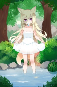 Rating: Safe Score: 5 Tags: 1girl animal_ears blonde_hair cp00 dog_ears dog_tail dress dress_lift flat_chest food forest fruit hat highres ice_pop lifted_by_self long_hair mouth_hold nature original outdoors purple_eyes solo sundress tail tree wading water watermelon white_dress User: DMSchmidt