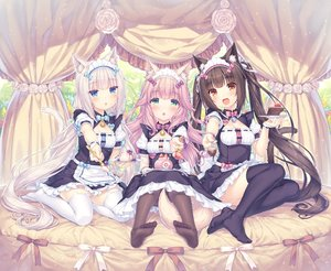 Rating: Safe Score: 4 Tags: 3girls :3 :d :o absurdres animal_band_legwear animal_ears apron bangs bell black_hair blue_bow blue_eyes blush bow bow_dress breasts brown_eyes brown_hair brown_legwear cake cat_band_legwear cat_ears cat_girl cat_tail character_name chocola_(sayori) chocolate cleavage_cutout collared_dress dress eyebrows_visible_through_hair feet food fraise_(sayori) full_body giving green_eyes hair_between_eyes hair_ornament head_tilt headdress highres holding holding_plate holding_spoon jitome long_hair looking_at_viewer multiple_girls name_tag neck_bell nekopara official_art open_mouth pink_bow pink_hair plate puffy_short_sleeves puffy_sleeves purple_bow purple_legwear ribbon sayori short_sleeves sitting slit_pupils small_breasts smile spoon tail tareme thighhighs twin_tails vanilla very_long_hair waitress wavy_hair white_hair white_legwear User: DMSchmidt