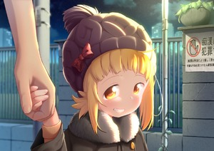 Rating: Safe Score: 5 Tags: 1girl blonde_hair bow drawfag fence fur_collar grin hat hat_bow holding_hands kise_sacchan mitsuboshi_colors night night_sky outdoors short_hair sidelocks sign sky smile smug solo_focus translation_request upper_body yellow_eyes User: Domestic_Importer