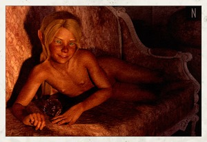 Rating: Questionable Score: 4 Tags: 1girl 3dcg barefoot blonde_hair blue_eyes couch elf flat_chest florie looking_at_viewer lying neesnusus nipples nude photorealistic pointy_ears pose shadow smile User: fantasy-lover