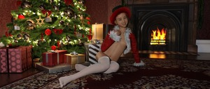 Rating: Questionable Score: 1 Tags: 1girl 3dcg 4888stockcarman christmas erica_(4888stockcarman) fireplace looking_at_viewer navel photorealistic pose rug sitting smile thighhighs User: fantasy-lover
