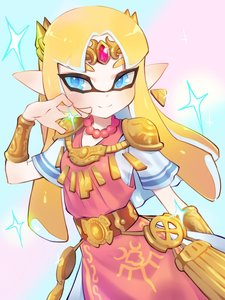 Rating: Safe Score: 7 Tags: 1girl bangs belt blonde_hair blue_eyes bracer company_connection dress earrings hand_up highres inkling jewellery jtveemo light_blush looking_at_viewer necklace parted_bangs pointy_ears princess_zelda shoulder_armour simple_background smile solo sparkle splatoon_(series) tentacle_hair the_legend_of_zelda tiara triforce User: DMSchmidt