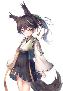Rating: Safe Score: 1 Tags: 1girl :/ absurdres animal_ears artist_name azur_lane bangs black_hair cowboy_shot dated fox_ears fox_tail hair_ornament hakama_skirt highres japanese_clothes long_hair long_sleeves looking_at_viewer matsukaze_(azur_lane) multicoloured_hair ponytail ribbon-trimmed_sleeves ribbon_trim signature simple_background solo sorairo_len standing tail v-shaped_eyebrows white_background wide_sleeves yellow_eyes User: DMSchmidt
