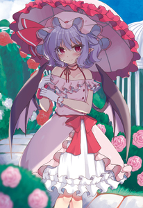 Rating: Safe Score: 3 Tags: 1girl absurdres adapted_costume bangs bare_shoulders bat_wings beni_kurage blue_hair blue_sky blush bush choker cloud collarbone day dress eyebrows_visible_through_hair feet_out_of_frame flower frills gloves hair_between_eyes hat hat_ribbon highres holding holding_umbrella looking_at_viewer mob_cap off-shoulder_dress off_shoulder outdoors pink_flower pink_headwear pink_rose pink_umbrella pointy_ears red_choker red_eyes red_ribbon red_sash remilia_scarlet ribbon ribbon_choker rose sash short_hair sky smile solo standing touhou_project umbrella white_flower white_gloves wings User: DMSchmidt