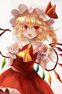 Rating: Safe Score: 0 Tags: 1girl :d ascot beige_background blonde_hair blush claw_pose cowboy_shot crystal eyebrows_visible_through_hair fangs flandre_scarlet frilled_shirt_collar frills hair_between_eyes hands_up hat hat_ribbon highres looking_at_viewer maho_moco mob_cap one_side_up open_mouth petticoat puffy_short_sleeves puffy_sleeves red_eyes red_ribbon red_skirt red_vest ribbon short_hair short_sleeves simple_background skirt smile solo touhou_project vest white_hat wings wrist_cuffs yellow_neckwear User: DMSchmidt