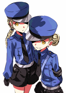 Rating: Safe Score: 0 Tags: 2girls blonde_hair braid caroline_(persona_5) double_bun eyepatch hat justine_(persona_5) multiple_girls necktie persona_5 shorts siblings smile twins werkbau yellow_eyes User: DMSchmidt
