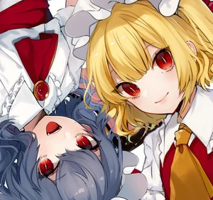 Rating: Safe Score: 0 Tags: 2girls :d ascot bangs bat_wings blonde_hair blue_hair blush brooch daimaou_ruaeru dress eyebrows_visible_through_hair eyes_visible_through_hair fangs flandre_scarlet frilled_shirt_collar frills hair_between_eyes hat hat_ribbon highres jewellery lips looking_at_viewer mob_cap multiple_girls open_mouth puffy_short_sleeves puffy_sleeves red_eyes red_neckwear red_ribbon red_sash red_vest remilia_scarlet ribbon sash short_sleeves siblings simple_background sisters slit_pupils smile touhou_project upper_body upside-down vest white_background white_dress white_hat wings yellow_neckwear User: DMSchmidt