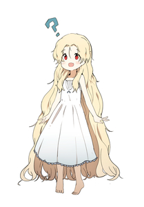 Rating: Safe Score: 2 Tags: 1girl :d ? absurdres arms_at_sides bare_shoulders barefoot blonde_hair blush bok_sil dress eyebrows_visible_through_hair fang flat_chest full_body hair_between_eyes highres long_dress long_hair looking_at_viewer luke_(dydansgur) open_mouth original red_eyes simple_background smile solo standing sundress vampire very_long_hair white_background white_dress User: DMSchmidt