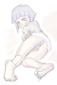 Rating: Explicit Score: 3 Tags: 1girl barefoot blue_eyes blue_hair blush bottomless coat drawfag fur_trim highres hyuuga_hinata monochrome naruto_(series) pussy short_hair solo younger User: DMSchmidt