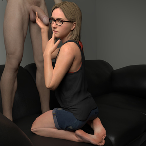 Rating: Explicit Score: 16 Tags: 1boy 1girl 3dcg age_difference barefoot cassie_drake clothed_female_nude_male couch finger_to_mouth glasses holding_penis juicesfm kneeling nude penis photorealistic standing testicles User: fantasy-lover
