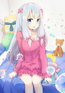 Rating: Safe Score: 1 Tags: 10s 1girl bangs bedroom blue_eyes blue_hair blush bow bubble collarbone eromanga_sensei eyebrows_visible_through_hair frills grey_hair hair_bow indoors izumi_sagiri legs_together long_hair long_sleeves looking_at_viewer on_bed open_mouth pajamas pink_bow sitting solo stuffed_animal stuffed_octopus stuffed_toy teddy_bear very_long_hair zzzzxxx2010nian User: DMSchmidt