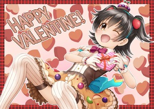Rating: Safe Score: 0 Tags: 1girl ;d akagi_miria bangs bead_bracelet beads black_hair blush box bracelet brown_eyes brown_skin eyebrows_visible_through_hair food_themed_clothes food_themed_hair_ornament gift gift_box gloves hair_between_eyes hair_ornament happy_valentine heart-shaped_box holding holding_gift idolmaster idolmaster_cinderella_girls jewellery one_eye_closed open_mouth puffy_short_sleeves puffy_sleeves regular_mow ribbed_legwear shirt short_sleeves smile solo strawberry_hair_ornament thighhighs two_side_up white_gloves white_legwear white_shirt User: Domestic_Importer