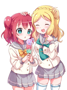 Rating: Safe Score: 1 Tags: +_+ 2girls :3 :d :o ^_^ aqua_eyes aqua_neckwear bangs blonde_hair blush bow bowtie braid closed_eyes cowboy_shot crown_braid double-breasted food grey_skirt hair_rings hand_on_another's_head highres holding holding_food ice_cream_cone kurosawa_ruby long_sleeves love_live!_school_idol_project love_live!_sunshine!! medium_hair multiple_girls neckerchief ohara_mari open_mouth pipette1223 pleated_skirt red_hair school_uniform serafuku simple_background skirt smile thighhighs tie_clip triple_scoop two_side_up uranohoshi_school_uniform white_background white_legwear yellow_neckwear User: DMSchmidt