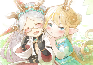 Rating: Safe Score: 1 Tags: 2girls :d ^_^ belt black_gloves blonde_hair blue_eyes blush bracelet charlotta_fenia closed_eyes crown dress elbow_gloves facing_viewer glasses gloves granblue_fantasy green_dress hairband hands_on_another's_shoulders happy harvin jewellery long_hair looking_at_viewer multiple_girls open_mouth pointy_ears puffy_short_sleeves puffy_sleeves ring semi-rimless_eyewear short_sleeves silver_hair smile symbol_commentary under-rim_eyewear very_long_hair walkalone wide_sleeves zahlhamelina User: DMSchmidt
