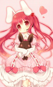 Rating: Safe Score: 0 Tags: 1girl :< absurdres animal_ears blush bunny bunny_ears button_eyes dearoliha dress fake_animal_ears frilled_dress frills hair_bobbles hair_ornament hairband head_tilt headset heart highres lolita_fashion long_hair microphone original pink_background plaid plaid_background red_eyes red_hair solo stuffed_animal stuffed_bunny stuffed_toy sweet_lolita twin_tails User: DMSchmidt