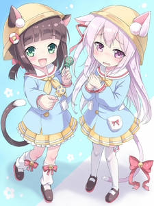 Rating: Safe Score: 3 Tags: 10s 2girls :d animal_ears azur_lane bangs bell black_footwear blue_background blue_shirt blunt_bangs blush bow bowtie brown_hair candy cat_ears cat_girl cat_tail collarbone ears_through_headwear eyebrows_visible_through_hair fingernails food full_body green_eyes hands_on_own_chest hands_together hat highres holding holding_lollipop jingle_bell kimagure_blue kindergarten_uniform kisaragi_(azur_lane) kneehighs lollipop long_hair long_sleeves looking_at_viewer loose_socks mary_janes multiple_girls mutsuki_(azur_lane) neckerchief offering one_side_up open_mouth outstretched_arm parted_lips pink_eyes pink_hair reaching_out ribbon school_hat shirt shoes short_hair side_ponytail simple_background skirt smile socks standing standing_on_one_leg tail thighhighs twin_tails white_legwear yellow_hat yellow_neckwear yellow_skirt User: Domestic_Importer