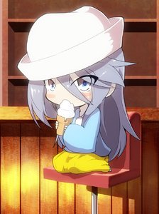 Rating: Safe Score: 1 Tags: 1girl bangs bar blouse blue_blouse blue_eyes blush_stickers chair dixie_cup_hat eating eyes_visible_through_hair flint_(girls_und_panzer) food full_body girls_und_panzer hat highres holding holding_food ice_cream_cone indoors jinguu_(4839ms) kindergarten_uniform long_hair long_skirt long_sleeves looking_at_viewer military_hat pleated_skirt silver_hair sitting skirt solo tilted_headwear white_headwear yellow_skirt younger User: Domestic_Importer