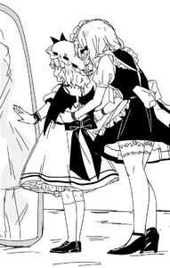 Rating: Safe Score: 0 Tags: 2girls age_difference apron cap demon_wings dressing_another from_behind headdress height_difference high_heels izayoi_sakuya maid maid_apron maid_headdress mirror multiple_girls plug_(feng-yushu) remilia_scarlet shoes socks thighhighs touhou_project wings User: DMSchmidt