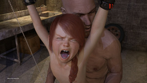 Rating: Questionable Score: 17 Tags: 1boy 1girl 3dcg age_difference bdsm bondage bound closed_eyes father_and_daughter flat_chest from_behind grimace long_hair nastynick nipples nude open_mouth photorealistic rape red_hair sex shadow tears teeth tongue tooth_gap User: fantasy-lover