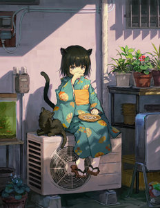 Rating: Safe Score: 0 Tags: 1girl air_conditioner animal animal_ears ball bangs black_cat black_hair brown_eyes cat cat_ears cat_tail covering_mouth eating fish_tank foot_dangle full_body geta highres japanese_clothes kimono long_sleeves looking_at_viewer obi original outdoors paper_balloon plant plate potted_plant sash sho_(sho_lwlw) short_hair signature sitting sitting_on_object solo sunlight tabi tail temari_ball whisker_markings wide_sleeves yukata User: DMSchmidt