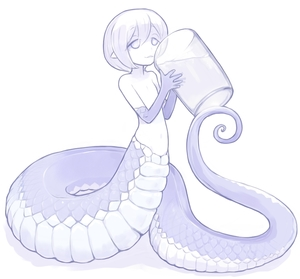 Rating: Safe Score: 2 Tags: 1girl blue drinking flat_chest glass holding idon lamia minigirl monochrome monster_girl nude original parted_lips pointy_ears scales short_hair simple_background smile solo tareme white_background User: DMSchmidt