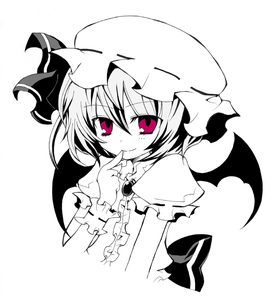Rating: Safe Score: 0 Tags: 1girl angeltype bat_wings hat monochrome red_eyes remilia_scarlet short_hair smile solo spot_colour touhou_project wings User: DMSchmidt