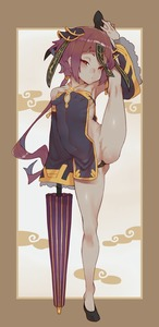 Rating: Questionable Score: 4 Tags: 1girl ass_visible_through_thighs bad_anatomy blush breasts brown_hair brown_skin chinese_clothes closed_mouth collagen covered_navel detached_sleeves half-closed_eyes maebari original shiny shiny_hair tabard User: Domestic_Importer