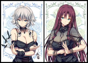 Rating: Safe Score: 0 Tags: 2girls alternate_costume bangs bare_shoulders bead_bracelet beads black_border black_bow black_choker black_dress black_neckwear black_ribbon blue_eyes blue_flower blue_rose border bow bracelet braid breasts choker cleavage collarbone cowtits dagger dress eyebrows_visible_through_hair flower green_flower green_rose hair_between_eyes hair_bow head_tilt highres holding holding_dagger holding_knife holding_weapon hong_meiling izayoi_sakuya jewellery keyhole knife knives_between_fingers lace lace-trimmed_dress lace_trim large_breasts long_hair looking_at_viewer moneti_(daifuku) multiple_girls nail_polish neck_ribbon no_hat no_headwear no_loli off-shoulder_dress off_shoulder own_hands_together palm-fist_greeting pink_nails pocket_watch red_hair ribbon rose see-through short_hair silver_hair skindentation smile touhou_project twin_braids very_long_hair watch weapon white_background wrist_cuffs User: DMSchmidt