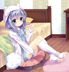 Rating: Safe Score: 0 Tags: 1girl :< angora_rabbit animal_hood bed bed_sheet blanket blue_eyes blue_shirt blush braid bunny bunny_hood candy carpet desk full_body gochuumon_wa_usagi_desu_ka? green_eyes hair_between_eyes heterochromia holding_food hood indoors jacket kafuu_chino lollipop looking_at_viewer open_clothes open_jacket pillow shirt shorts sitting_on_pillow sleeping sweets table takachina takashina_asahi tippy toeless_legwear toes twin_braids white_fur wooden_floor x_hair_ornament User: DMSchmidt