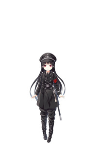 Rating: Safe Score: 1 Tags: 1girl absurdres armband bangs black_footwear black_hair black_hat black_jacket black_neckwear black_pants blush boots closed_mouth collared_shirt cura eyebrows_visible_through_hair hachiroku_(maitetsu) hat highres jacket knee_boots long_hair maitetsu military_hat military_jacket necktie negative_space pants peaked_cap pigeon-toed red_eyes sheath sheathed shirt simple_background smile solo sword very_long_hair weapon white_background white_shirt User: DMSchmidt