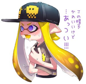 Rating: Safe Score: 1 Tags: 1girl blonde_hair blue_eyes crazy_eyes domino_mask fangs hat highres inkling mask monster_girl pointy_ears puchiman shirt splatoon sweat t-shirt tentacle_hair translated User: Domestic_Importer