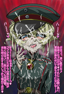 Rating: Explicit Score: 1 Tags: 1girl arm_behind_back belt blonde_hair blue_eyes bukkake cum cum_in_mouth cum_on_clothes cum_on_hair facial hair_between_eyes hat looking_at_viewer military military_uniform numahana short_hair solo tanya_degurechaff tongue tongue_out translation_request uniform youjo_senki User: DMSchmidt