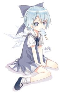 Rating: Safe Score: 0 Tags: 1girl blue_dress blue_eyes blue_hair cirno dress hair_bobbles hair_ornament hibanar highres ice ice_pop ice_wings looking_at_viewer mouth_hold puffy_sleeves shirt sitting solo team_shanghai_alice touhou_project v_arms wariza wings User: DMSchmidt