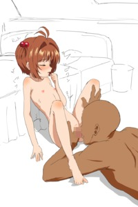 Rating: Explicit Score: 5 Tags: 1boy 1girl ahoge arm_support blush brown_hair cardcaptor_sakura censored closed_eyes cunnilingus dark_skinnned_male eyebrows_visible_through_hair flat_chest hair_bobbles hair_ornament highres interracial kinomoto_sakura knee_blush knees_up leaning_back nude oral partially_coloured profile shoulder_blush sitting trg-_(sain) white_background User: Domestic_Importer