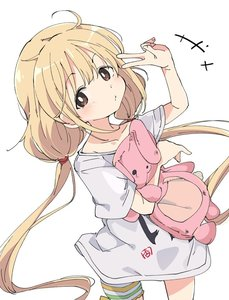 Rating: Safe Score: 0 Tags: 1girl blonde_hair brown_eyes character_name clothes_writing collarbone cowboy_shot eyebrows_visible_through_hair from_above futaba_anzu hands_up idolmaster idolmaster_cinderella_girls ixy long_hair looking_at_viewer low_twintails object_hug oversized_clothes oversized_shirt shirt short_sleeves simple_background solo stuffed_animal stuffed_bunny stuffed_toy t-shirt twin_tails v very_long_hair white_background white_shirt User: Domestic_Importer