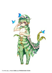 Rating: Safe Score: 0 Tags: 1girl brown_hair bug butterfly caterpillar dmm fewer_digits green_hair green_skin insect insect_girl larva leaf looking_at_viewer monster_girl multicolored_skin multicoloured multicoloured_hair no_nipples official_art parted_lips purple_eyes short_hair simple_background solo standing white_background yuba_no_shirushi yuzu_shio User: DMSchmidt