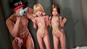 Rating: Explicit Score: 47 Tags: 1boy 2girls 3dcg age_difference blonde_hair braid brown_eyes camera earrings flat_chest glasses hat holding_hands jewellery kneeling long_hair looking_at_viewer multiple_girls navel necklace nipples nude pose pussy realistic shadow shiny_skin skoid standing twin_tails User: fantasy-lover