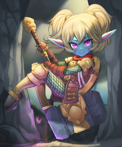 Rating: Safe Score: 2 Tags: 1girl armour blonde_hair blue_skin fang flower gloves hammer highres k_jin league_of_legends looking_at_viewer pointy_ears poppy purple_eyes short_hair slit_pupils smile solo twin_tails weapon User: DMSchmidt